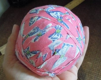 """Antique Vintage American  Primitive Old Hand Made Pink & Blue Calico Fabric Textile Rag Ball, Big +3"""", 139 grams"""