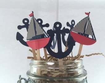 12 Nautical Navy Anchors / Red Navy White Stripe Sailboat /Cupcake Toppers / Nautical birthday parties, /baby showers / Nautical cupcake