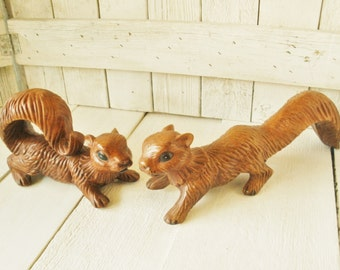 Pair ceramic squirrel figurines vintage fence tree climbers Woodland decor 1970s