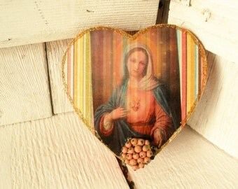 Prayer box heart shaped Christian shrine Mary meditation upcycled embellished pocket size