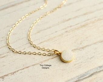 Tiny Gold Rainbow Druzy Quartz Bezel Necklace... 14kt Gold Filled Chain