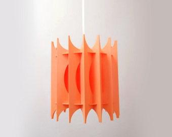 Retro Danish pendant light orange mid century modern