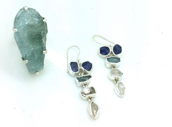 Rough Aquamarine, Apatite and Herkimer Diamond Gemstone Earrings
