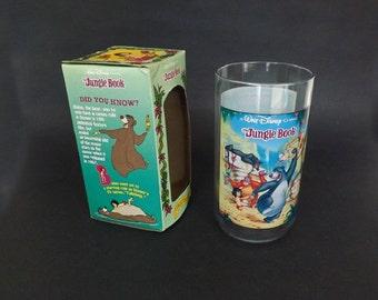 Vintage Disney Jungle Book Drinking Glass, Burger King Collector Series, Disney Movie Memorabilia, Baloo Jungle Book, Collectible Souvenir
