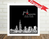 Special Date Skyline Personalized Poster FRAMED Art Wedding Present Engagement Present Holiday Gift for Couple Any City Available