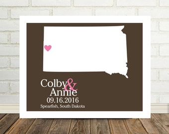 South Dakota Map Wedding Gift Personalized Couple Art South Dakota Print South Dakota Poster State Map Art Valentines Day Gift for Him