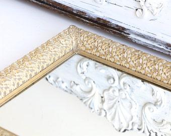 Vintage Gold Filigree Vanity Mirror Tray
