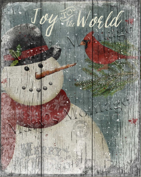 ... , Snowman Cardinal 8x10 printable download by MarysMontage on Etsy