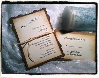 Vintage Inspired Gothic Medieval Wedding Invitation Suite