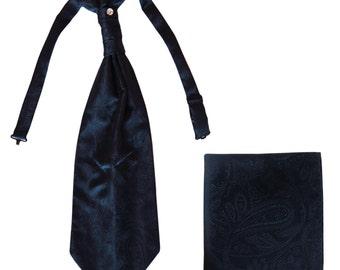 Men's Paisley Navy Blue Ascot Cravat Tie and Handkerchief, for Formal Occasions