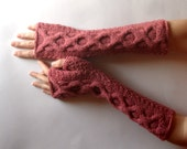 Dusty Rose Cable Fingerless Gloves Cashmere Fingerless Mittens Knit Arm Warmers Winter Hand Warmers Wrist Warmers - KG0082