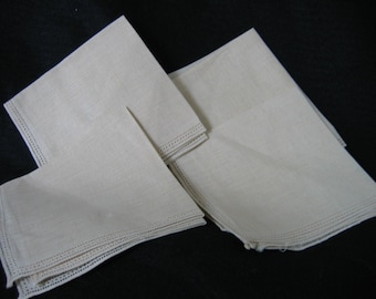 Set of 4 Vintage - Never Used Irish Linen Napkins in Netural Color