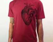Clearance Gift For Him - Anatomical Heart T-Shirt for Men - Grey's Anatomy - Hand Screen Printed T-Shirt - 50/50 Blend Shirt