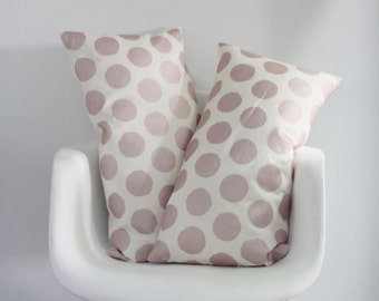 Dottie lumbar pillow cover hand printed in metallic blush pink on off-white organic cotton-hemp