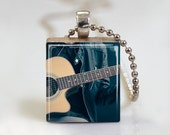 Country Acoustic Guitar Cowboy - Scrabble Tile Pendant - Free Ball Chain Necklace or Key Ring