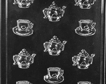 Tea Pot and Tea Cup Bite Size Chocolate Mold Candy Soap Mould Party Favor m213