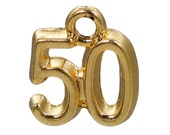 """20 Gold Plated Number 50 (Fifty) Charms, 12mm, about 1/2"""", chg0414b"""