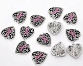 15% OFF SALE 4 Silver Tone Pink Rhinestone Ribbon Breast Cancer Awareness Heart Charm Pendants 16x14mm  chs0709