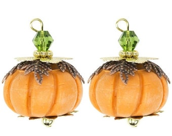 2 PUMPKIN Halloween Charms, polymer clay orange pumpkin with mixed metal accents, cho0117