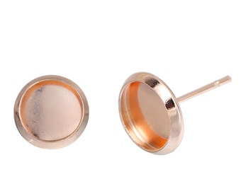 20 (10 pairs) ROSE GOLD cabochon bezel setting earring post components, fits 8mm round inside bezel, fin0583