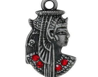 5 EGYPTIAN PHARAOH QUEEN Charm Pendants, Gunmetal Charms, Red Rhinestones Egyptian Goddess Charms, cho0138