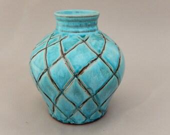 Turqoise Pottery Vase - Terracotta Handmade Earthenware