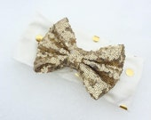 NEW Gold & Off White Wrap with Gold Sequin Bow- ALL AGES - stretch fabric head wrap/turban/headband / adult / winter/ Spring baby child girl
