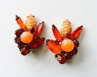Juliana D&E Verified Corn Kernel Orange Clip Earrings