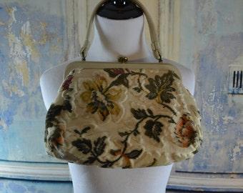 vintage Garay carpet bag purse cream tapestry kilim handbag
