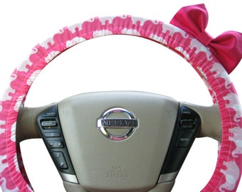 Steering Wheel Cover Bow, Limited Edition Hot Pink Elephants Steering Wheel Cover with Hot Pink Bow BF11049