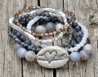 The Long Island Love Beaded Bracelet Stack