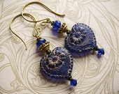 Cobalt Blue Victorian Heart Earrings. Blue and Gold Everyday Earrings.