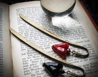 Lampwork Heart Bookmark Set. Twin Hearts Grimoire Bookmark Set