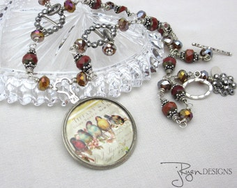 Unique Mixed Media Necklace Tiffany Birds Pendant Necklace Antique Eye Glass Necklace Vintage Cut Steel Czech Beads One of a Kind OOAK