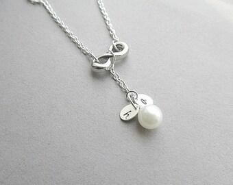 Infinity Silver Initials/Monogram  Necklace - Infinity, Pearl, Bridal, Wedding, Anniversary Custom made