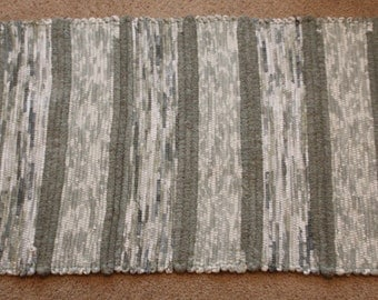 Handwoven Rag Rug - Dusty Green and White with a touch of Blue - 49 inches....(#67)