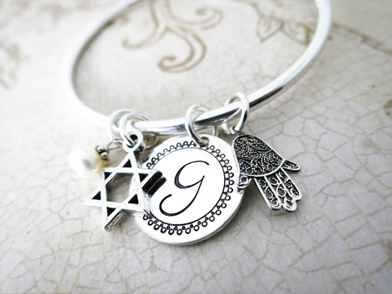Bangle Charm Bracelet | Sterling Silver Charm Bracelet | Initial Jewelry | Hamsa | Jewish Star | Ball End Bangle | Open Bangle | Bat Mitzvah