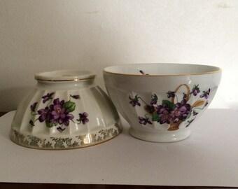 2 Vintage Café au lait porcelain bols with violet motif