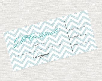 printable gift certificate turquoise glitter chevron business marketing promotion printable editable file or last minute gift idea christmas