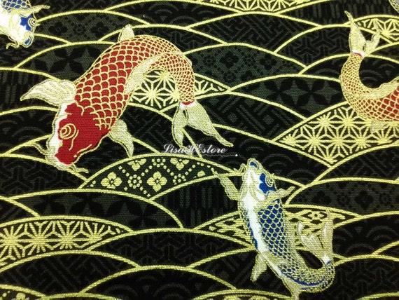 Koi fish black gold metallic fat quarter pure cotton for Black and gold koi fish
