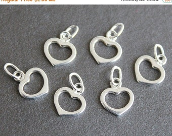 CLEARANCE Sterling Silver Small Heart Charm - Pendant Drop Component 8x7mm with Closed Loop