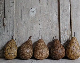 Handmade Primitive Golden Pear Bowl Fillers, Folk Art Decor, Mustard Yellow Fabric Pears