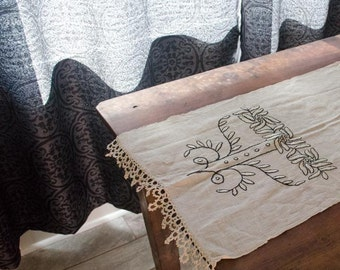 Lovely Vintage Cotton Table Runner with crocheted edges and intricate embroidered design, unique and stunning piece
