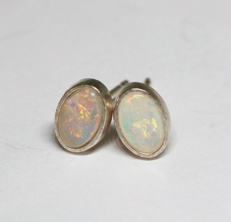 australian opal earrings genuine opal sterling silver stud