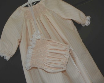 Pretty Smocked day gown and bonnet