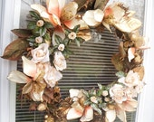 Spring Summer Wreath, Magnolia & Rose Floral Wreath, Elegant  Home Decor