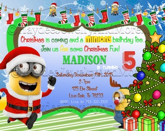 Minions Christmas Birthday Party Invitation