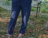 SALE Blue Linen High Waisted pants Vintage 80's pleated 29summer pants