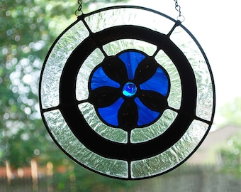 Small Stained Glass Panel - Iridized Blue and Black Flower