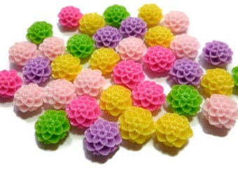 Mixed Resin Flower Cabochon - 10mm x 6mm - Pink Purple Green Yellow - Colorful - You pick quanity - Bulk - Mum Chrysanthemum Dahlia - Bulk